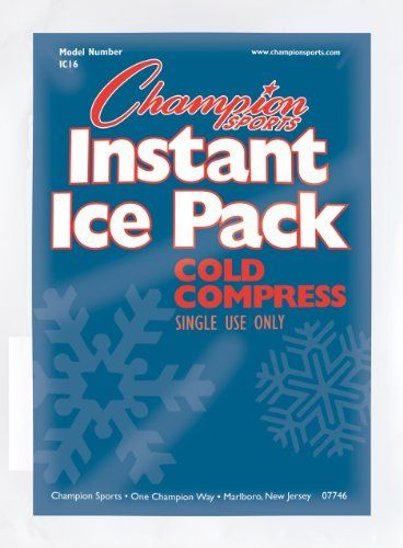 Champion Sports Instant Cold Compress(case of 16) by Champion Sports. $20.66. The Champion Sports Instant Ice Pack Set includes 16 ice packs that provide instant relief to any sports related injuries. These cold compress packs are easy to use and require you to simply squeeze to activate. The Instant Ice Packs are 9in L x 4in W and each pack is for a single use only.