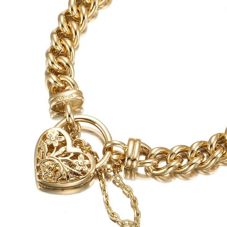 18ct Yellow Gold Layered Curb Bracelet with Filigree Locket   Allure Gold