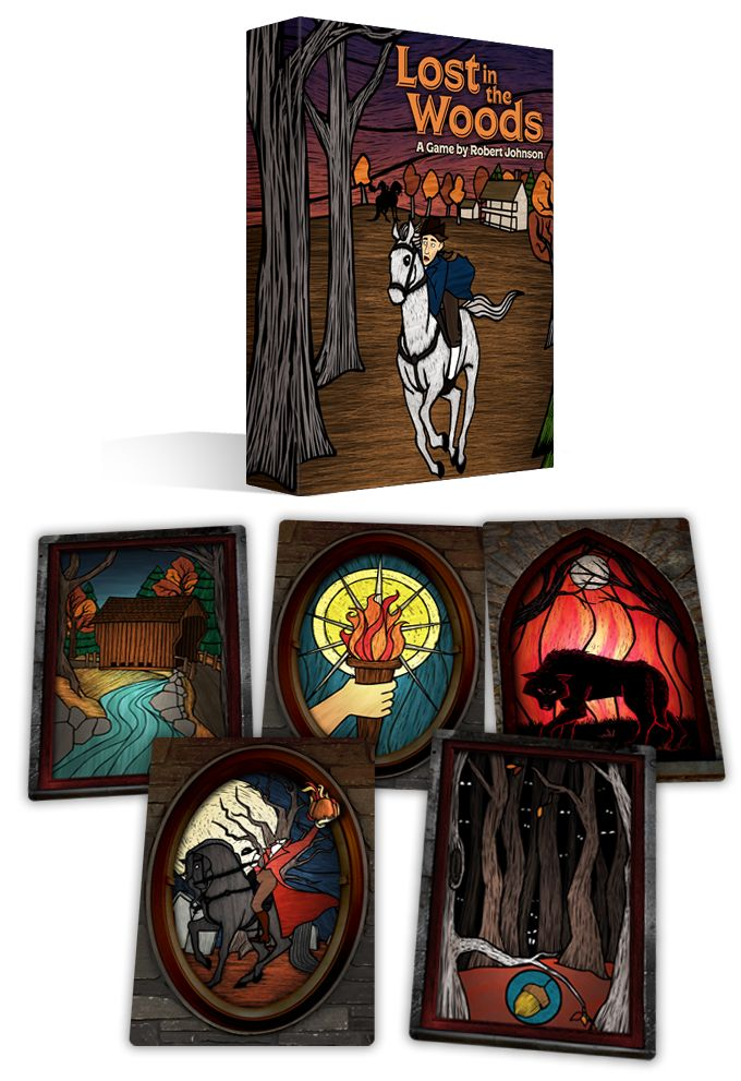 Lost in the Woods is a solitaire card game in which you try to help Ichabod Crane escape from the Headless Horseman!
