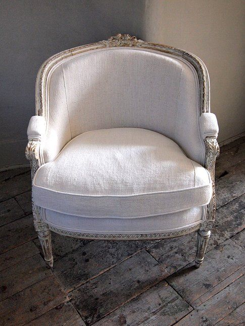 French Antique bergère chair in simple white linen