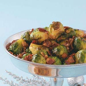 Maple & Bacon Glazed Brussels Sprouts Recipe from Taste of Home -- The sweet maple syrup and smoky bacon complement the brussels sprouts perfectly.—Jan Valdez, Chicago, Illinois