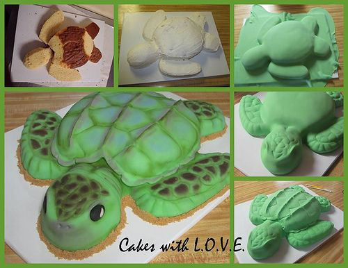 Sea Turtle Cake steps by Cakes with L.O.V.E., via Flickr