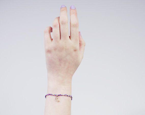 Grunge Bracelet  in Purple, Mint & Gold with a Crescent Moon Charm - Bohemian, Festival Jewellery