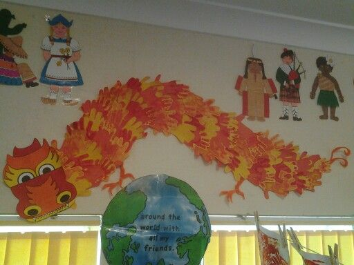 Chinese dragon made by childrens hand prints.