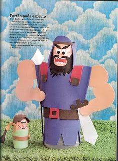 1 Samuel 17: David en de reus Goliath. David en Goliath knutselen met patroon, free download / Baú de Recursos para o Ministério Infantil: Brinquedos de sucata