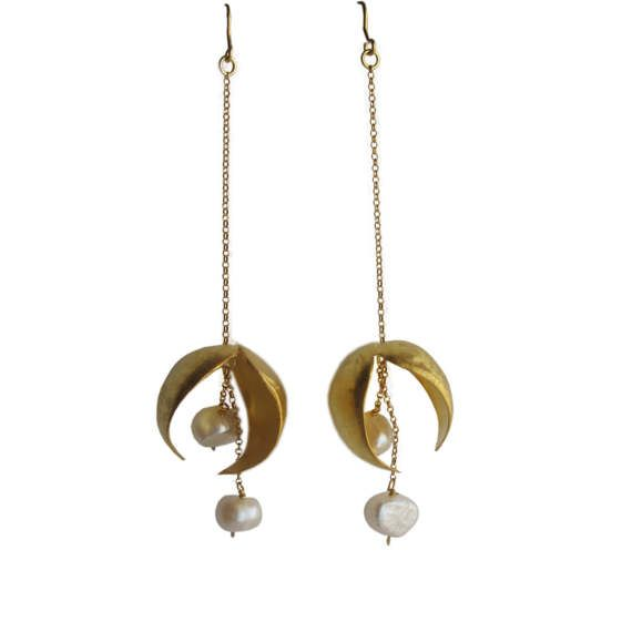 Pearl  earrings/long gold earrings/contemporary by AthenArt