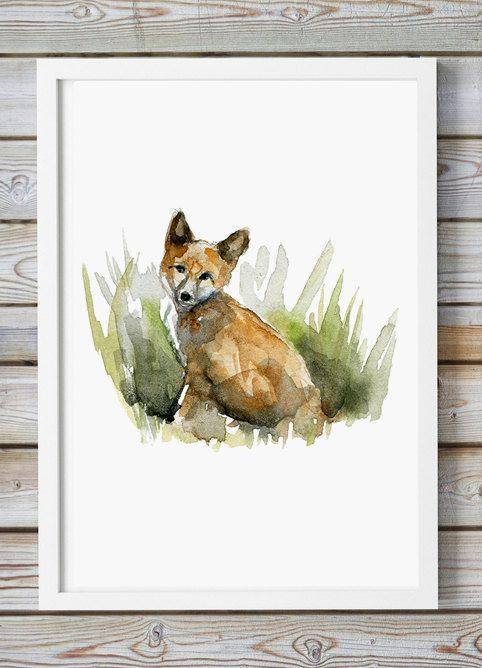 Aquarel vos  Giclee Print  Dier Schilderij vosje  door Zendrawing