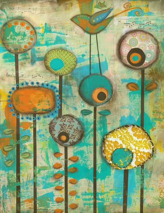 It's a Colorful World...8 x 10 print...from original mixed media and collage Orange yellow blue Flowers on Etsy, $22.00