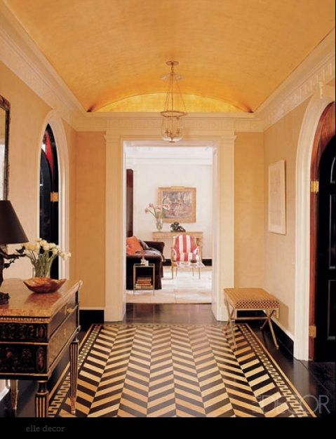 gold inlay a paired with black & white chevron floor- divine