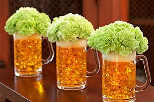 cute idea!!Beer Mugs, Green Beer, Bachelorette Parties, Green Carnations, Flower Arrangements, St Patricks Day, Beer Flower, Floral Arrangements, Parties Centerpieces
