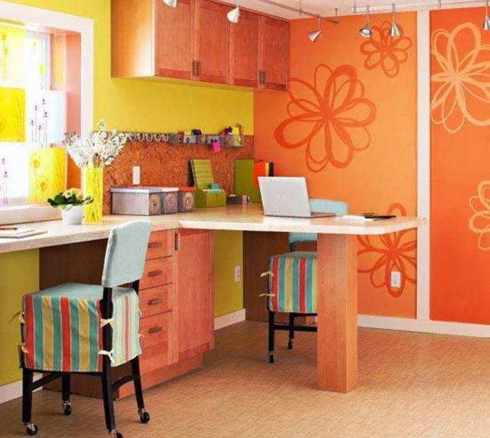 Appealing home office colors homeoffice design ideas orange wall decor flower home office - Home office painting ideas ...