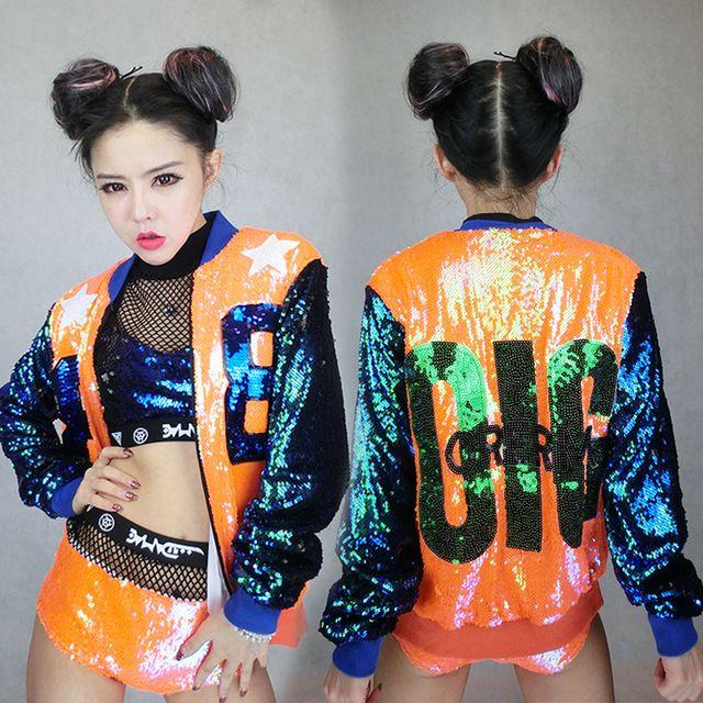 sequins rainbow color Jazz Dance Outfits Girls Latin Dance Costume Street Dance Clothing Dj Set Hip Hop Clothes