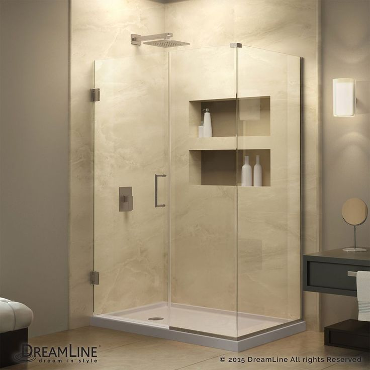 Unidoor Plus 34-3/8-inch x 53-inch x 72-inch Hinged Shower Enclosure with Hardware in Brushed Nickel