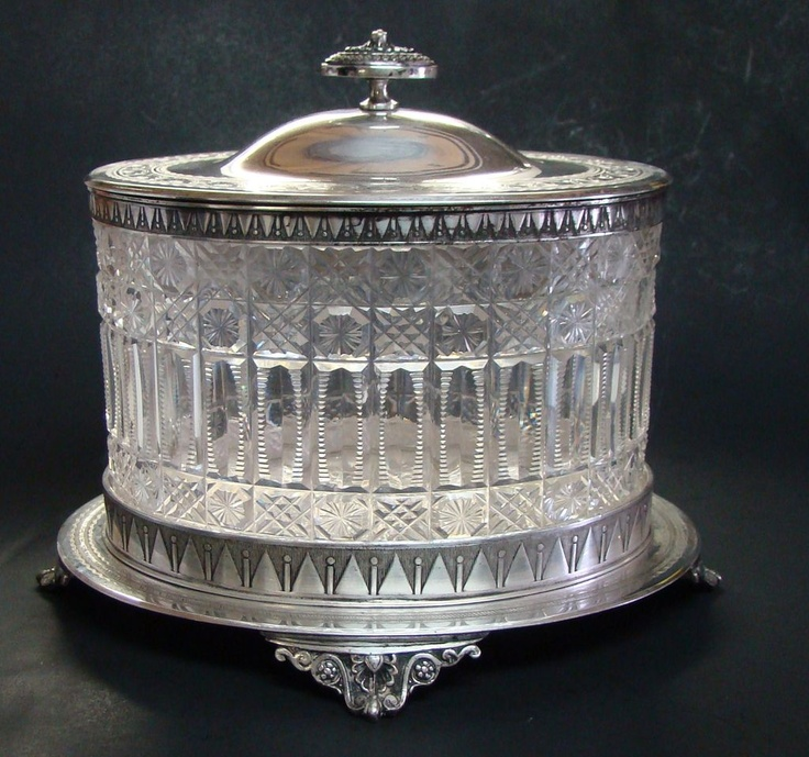 Victorian Cut Glass & Silver Plate Biscuit Jar from antiquesovertexas on Ruby Lane