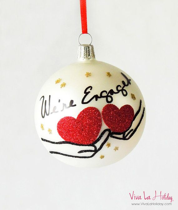 """Engagement Blown Glass Ornament """"We're Engaged"""" Hands Holding Hearts (Red) - Personalize - Engagement Gifts"""