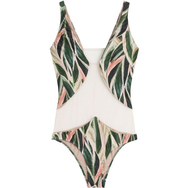 Adriana Degreas Printed Swimsuit ($405) ❤ liked on Polyvore featuring swimwear, one-piece swimsuits, multicolor, slimming swimsuits, sheer one piece swimsuit, green one piece swimsuit, pink one piece swimsuit and green bathing suit
