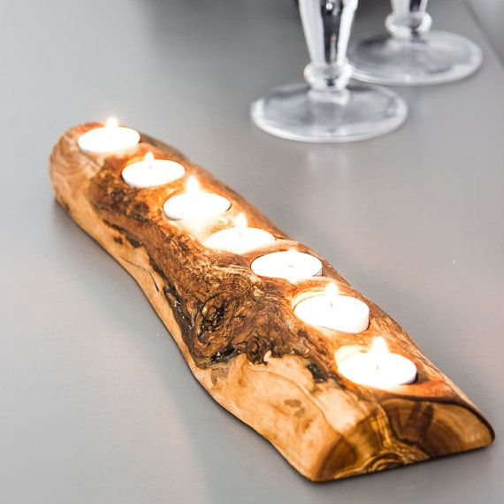 Rustic Olive Wood Tea Light Holder holds 3 or 7 by RusticFlitch