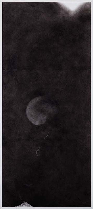 Minam APang Untitled | Moon Mirrors Mountains Series | 2014 | Charcoal on paper | 58.5 x 25 in.