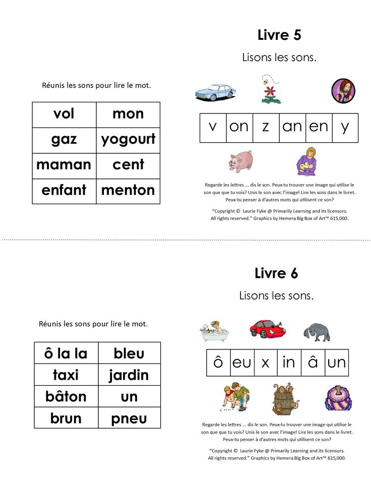 FRENCH Phonic Books. Kindergarten, and Grade one children will enjoy these  #FRENCH Language Sound Books. (1/8 page and 1/4 page format.) The front cover shows the group of sounds and pictures.  There are six sounds per booklet.  The last page has a list of words for the child to read, or spell.   Click to download the booklets now! (Available in both PRINT Letters and SASSOON Infant Font.) #lettersandsounds