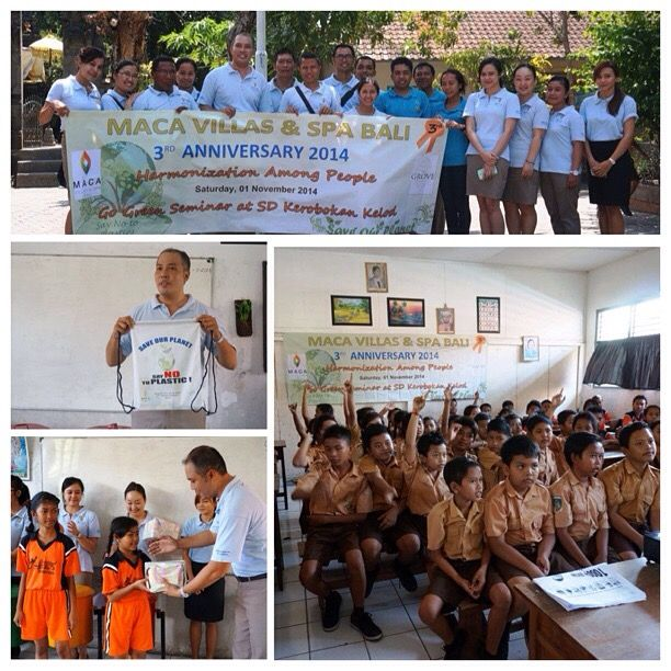 "Palemahan (Human - Environment) 2014. Go green seminar, ""Say No To Plastic"" for students at SD no, 5 Kerobokan Kelod."