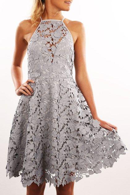 Acoustic Lace Dress Pale Grey