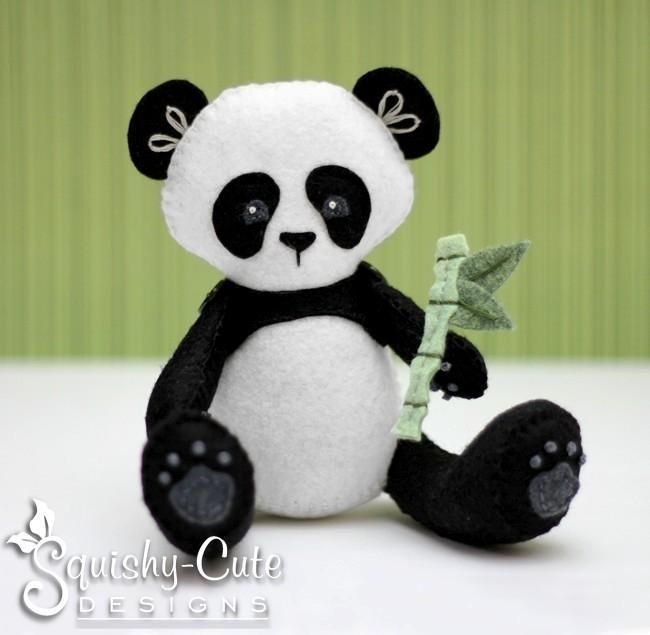 Looking for your next project? You're going to love Felt Panda Stuffed Animal by designer Squishy-Cute Designs.