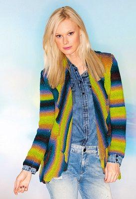 Barevný kabátek se šálovým límcem   PLETENÍ – NÁVODY