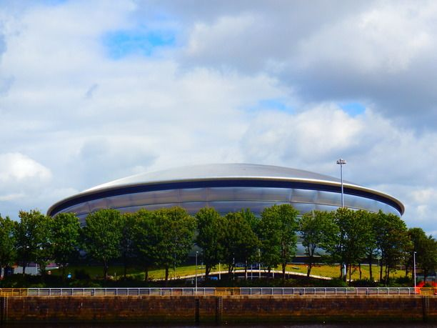 SECC Glasgow, Glasgow, Scotland — by Karen  Hicks. The newest addition along the Clyde side - Secc Hydro. Looks great at night.