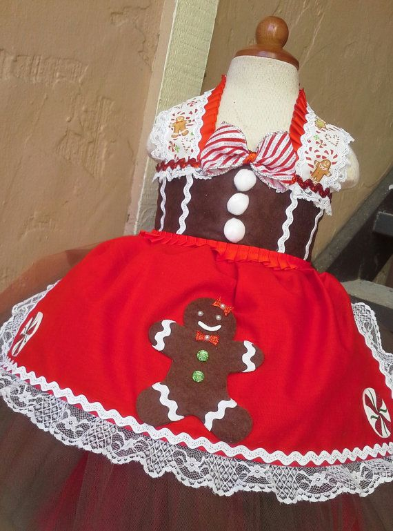 Gingerbread Tutu Dress- Christmas tutu dress- gingerbread costume- gingerbread dress on Etsy, $70.00
