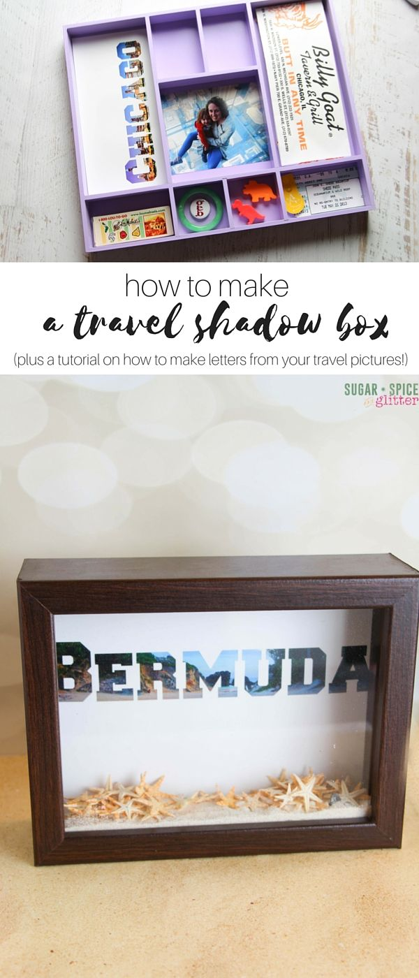 Easy & practical tips to make your own DIY Shadow boxes, including a tutorial on how to turn a favourite travel picture into a picture-word! Gather your favorite momentos and souvenirs - from travel, special milestones, etc- and transform them into a beautiful homemade shadow box. #SpringCreations ad