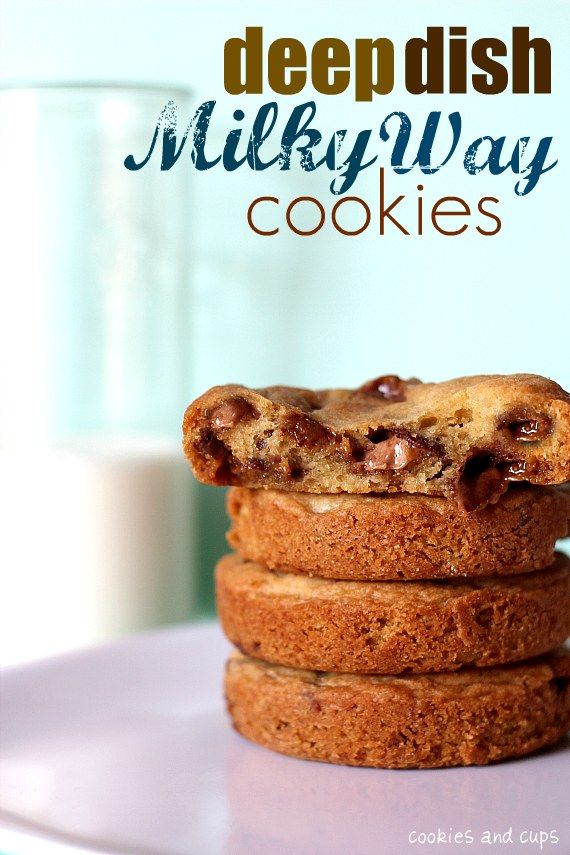 These are super Easy & Yummy!   Deep Dish Milky Way Cookies: 1 cup butter, 2 sticks, room temp, 1 cup dark brown sugar, 1/2 cup granulated sugar,2 eggs, 2 tsp vanilla,1 tsp baking soda,1 1/2 tsp coarse sea salt,2 1/2 cups all purpose flour, 1 (11.24 oz) bag of fun sized Milky Way bars, chopped.  Bake in a muffin top pan @ 350 for 13 -15 mins.