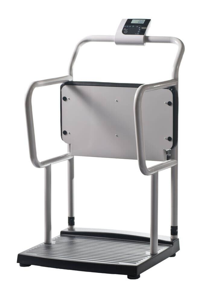 Multi-function handrail medical scales with fold-up chair, for elderly and infirm.  Healthweigh Bariatric Scales Model H251-4.  Capacity 300kg
