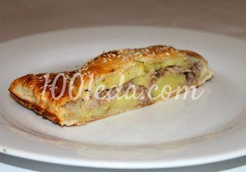 Пирог из слоеного теста с тунцом и картофелем