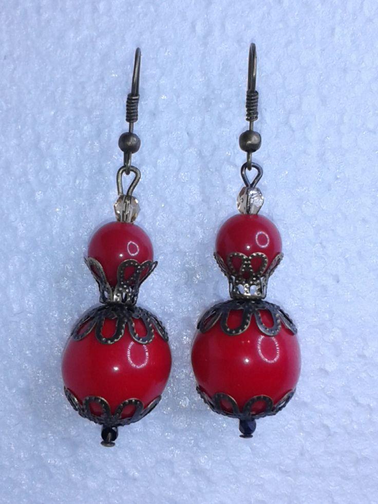 piros fülbevaló - red earring