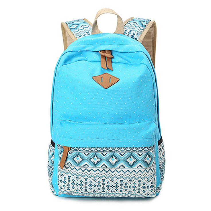 2015 Vintage Girl School Bags For Teenagers Cute Dot Printing Canvas Women Backpack Mochila Feminina Casual Bag School Backpack