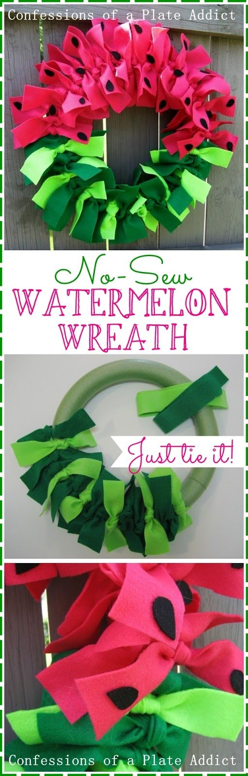 CONFESSIONS OF A PLATE ADDICT: Easy No-Sew Watermelon Wreath...Just Tie It!