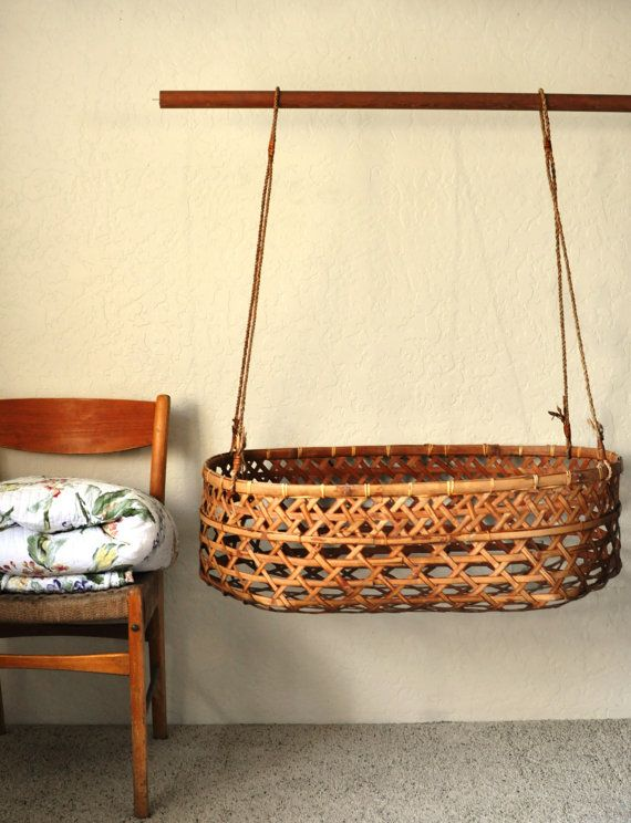 Vintage Rattan Eskimo Style Bassinet Wicker Weave Hanging Basket/Large Hanging Rattan Cradle/Native American Style Baby Carrier/Woven Basket on Etsy, $149.00