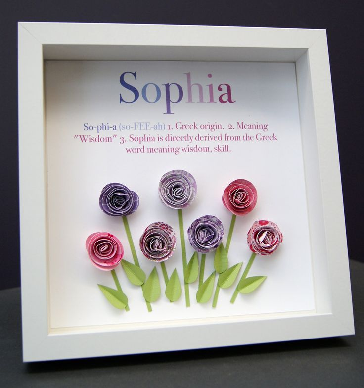 Personalized Name Paper Origami Roses Shadowbox Custom Newborn Baby Shower Gift by paintandpapercraft on Etsy