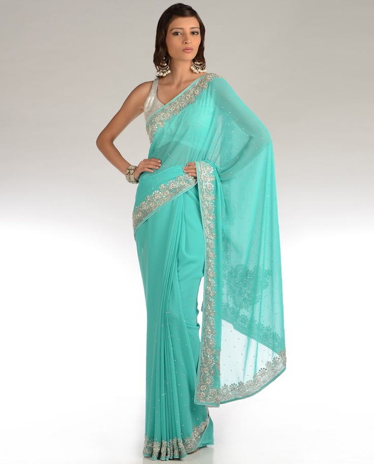 Embellished Bright Turquoise Blue Sari  by DIA