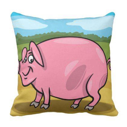Cartoon Pig On A Farm Throw Cushions - home decor design art diy cyo custom