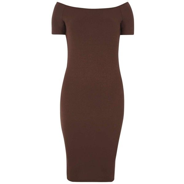 Dorothy Perkins Chocolate Bardot Bodycon Dress ($28) ❤ liked on Polyvore featuring dresses, brown, body conscious dress, brown dress, dorothy perkins, brown bodycon dress and short sleeve bodycon dress