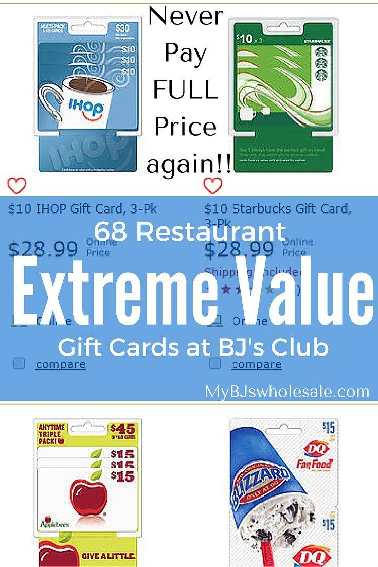 Get gift cards for less than face value at BJs Wholesale Club! #BJsSmartSaver