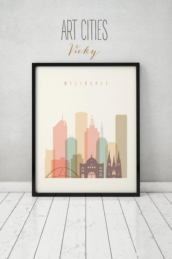 Melbourne Print, Poster, Wall Art, Australia Melbourne Skyline, City  Poster, Typography
