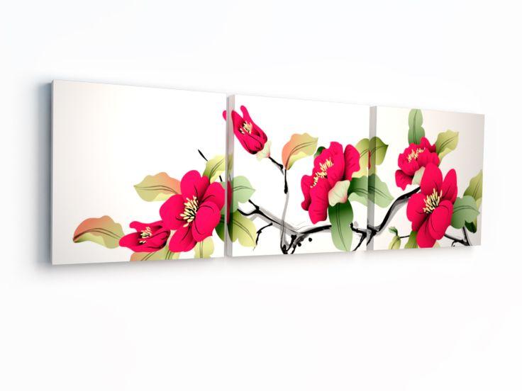 Триптих Китайские цветы. Купить картину из трех частей недорого