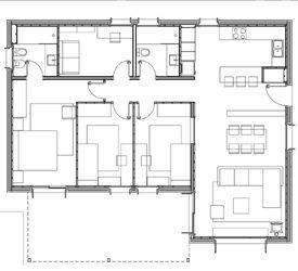 Casas modulares   Casas Prefabricadas - Modelo Eivissa - 4 DORMITORIOS 2 BAÑOS/ 120,40m2