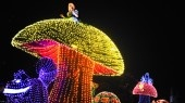Alice on top of a giant mushroom above a grinning Cheshire Cat at the Main Street Electrical Parade
