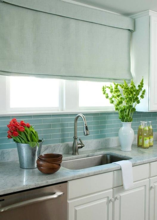 Marble Backsplash With Subway Tiles Above Liz Carroll Interiors   Beach  House Kitchen.