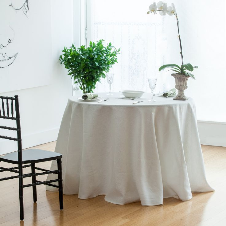 Huddleson Linens   Ivory Cream Round Pure Linen Tablecloth   Solid Color