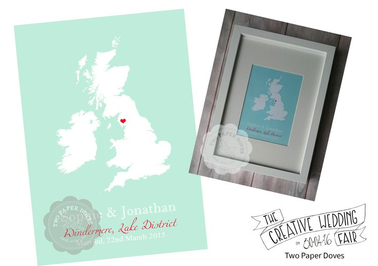 Two Paper Doves - The Creative Wedding Fair by Etsy Manchester - Art Prints - Wedding Art - Wedding Gift