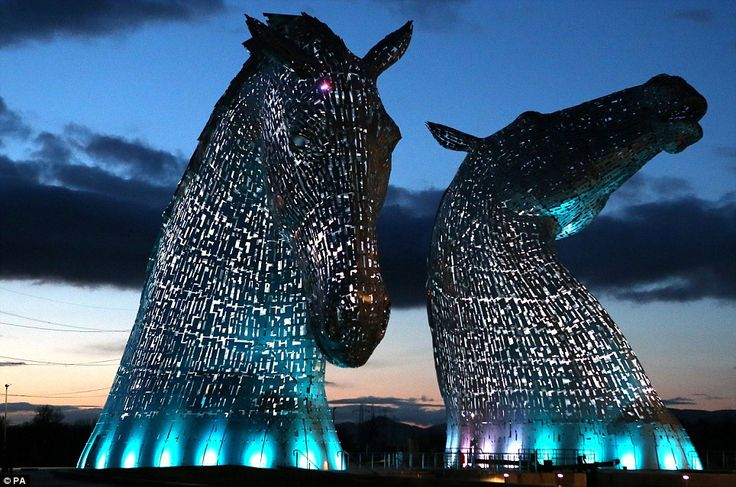 Towering: The Kelpies, 30-metre tall statues which stand over Falkirk, Scotland, will be open to the public later this month